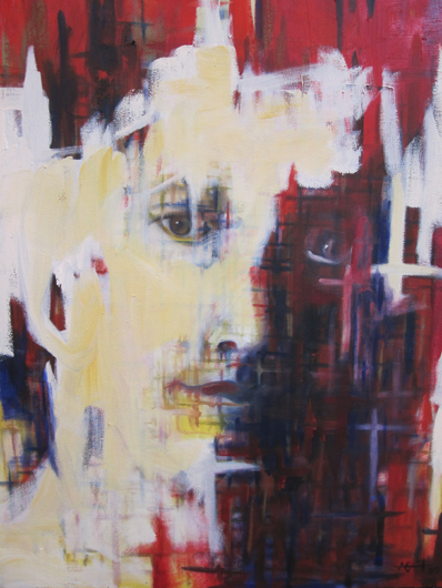 peaceful abstract faces monrud artist